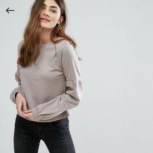 Asos New Look Puff Sleeve Sweatshirt